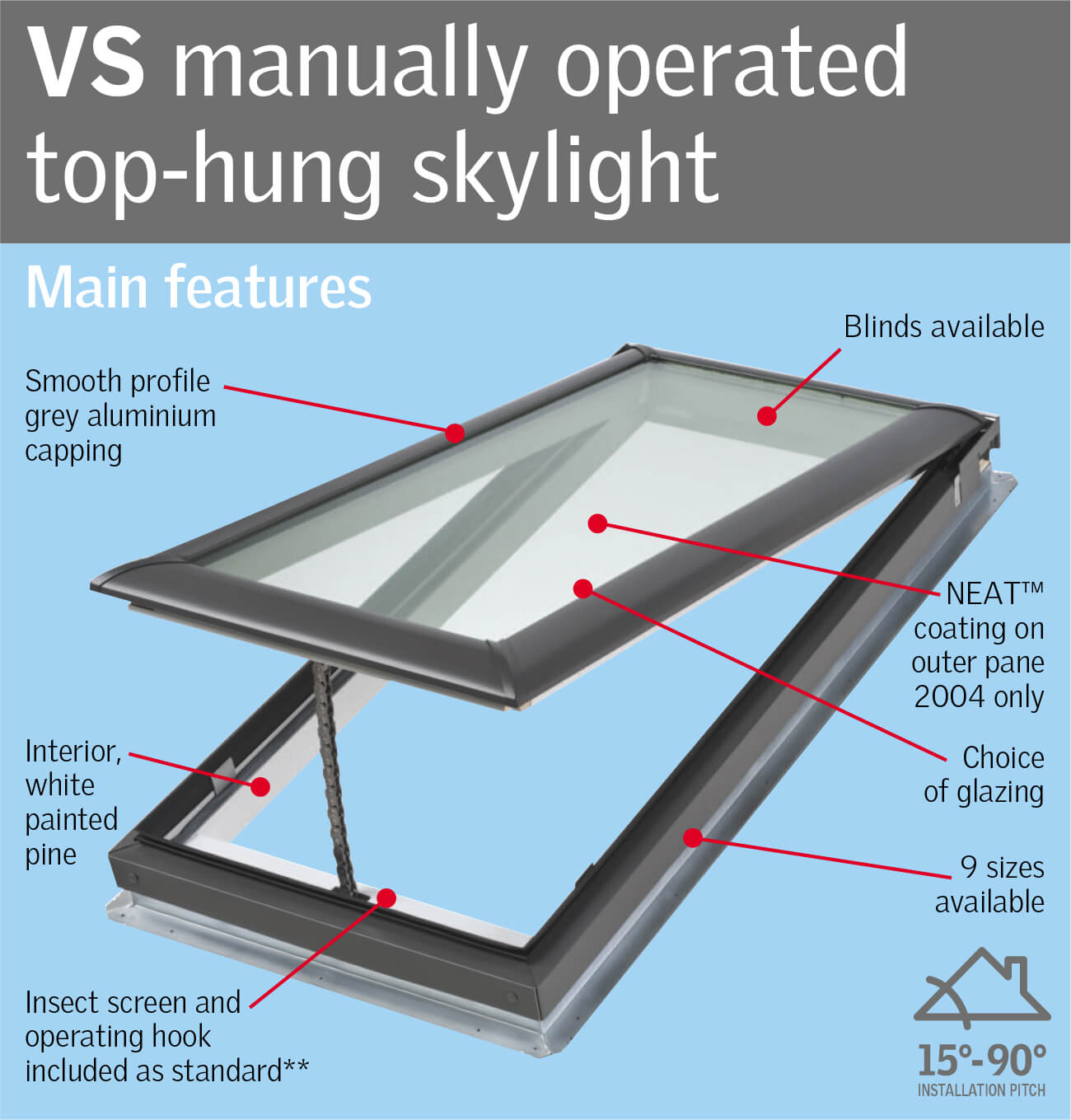 VELUX VS - Manually Operated Top hung Skylight