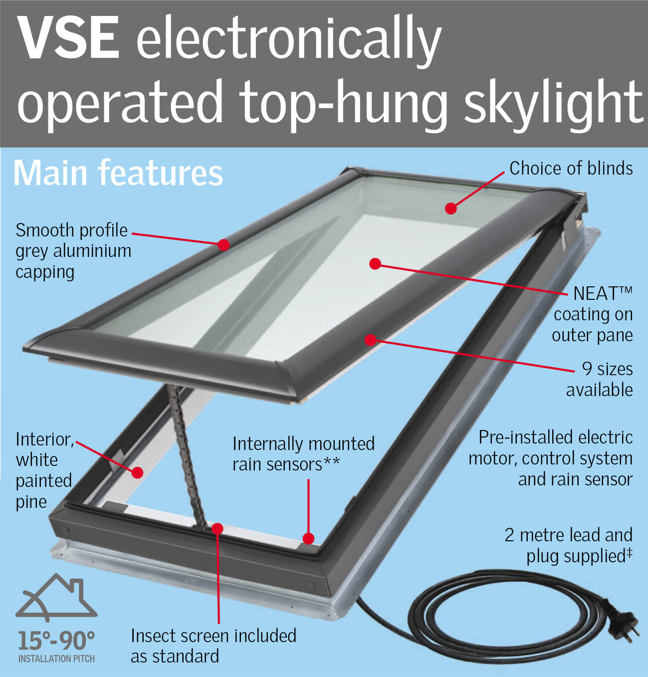 VELUX VSE Electronically Operated Top hung Skylight